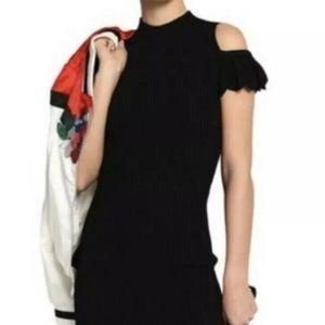 MAJE Roxanne Cold Shoulder Knit Mini Black Dress